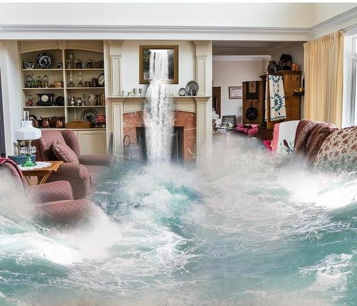 flood water gushing through a living room